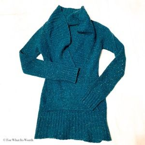 Free People Deep V Turquoise Wool Sweater